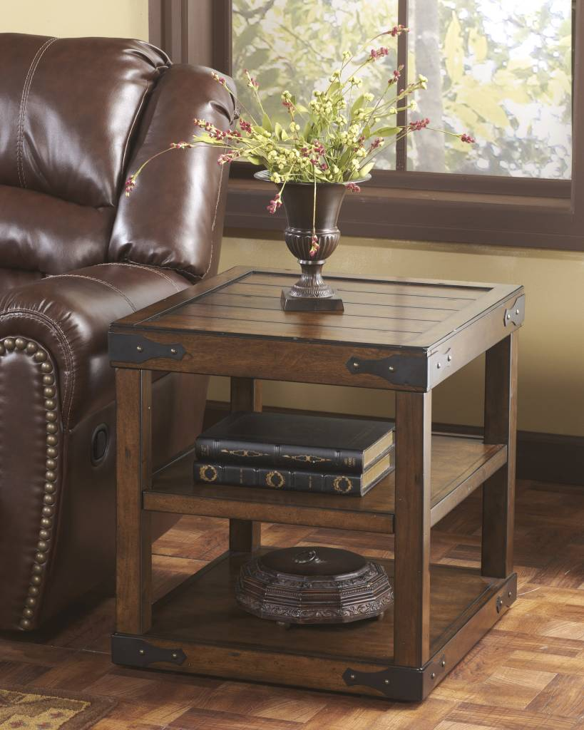 Signature Design Sheperdsville, Rectangular End Table, Rustic Brown T588-3