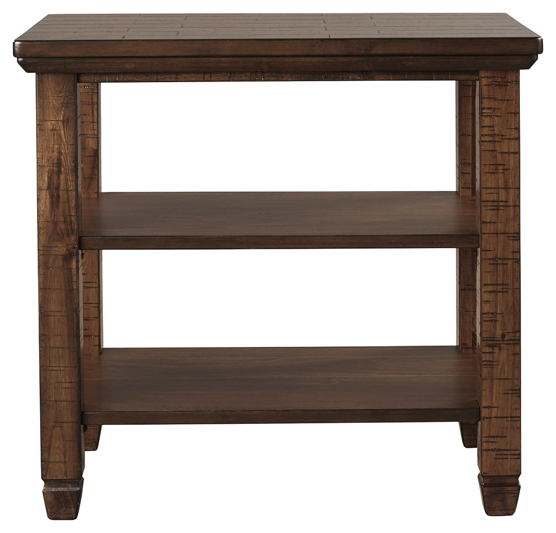 """Signature Design Chair Side End Table- """"Royard"""" Brown T765-7"""