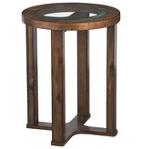 """Signature Design Round End Table- """"Hannery"""" Brown T725-6"""