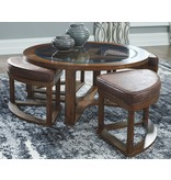 """Signature Design Cocktail Table w/4 Stools- """"Hannery"""" Brown T725-8"""