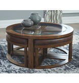 "Signature Design Cocktail Table w/4 Stools- ""Hannery"" Brown T725-8"