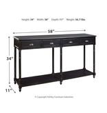 "Signature Design Console Sofa Table- ""Eirdale""- Black A4000189"