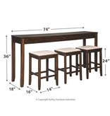 "Signature Design Rectangular Counter Bar/Dining Table with 3 barstools  (Set of 4) ""Rokane"" D397-223"