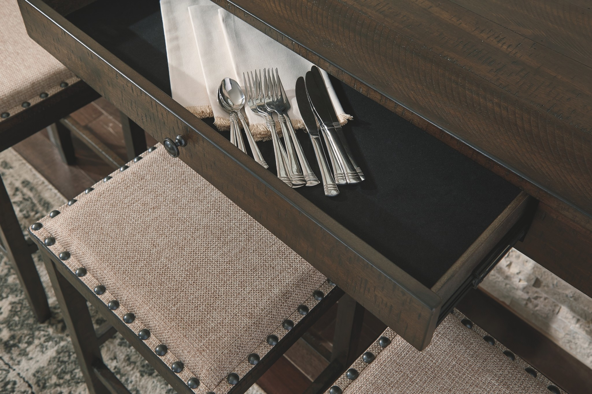 "Signature Design Rectangular Counter Bar/Dining Table with 3 barstools  (Set of 4) ""Rokane"" D397-223"