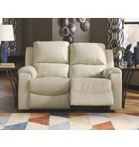Signature Design Rackingburg, Reclining Power Loveseat, Cream U3330274