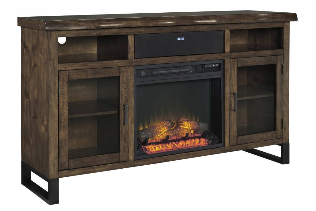 Signature Design Esmarina, Large TV Stand with Fireplace/Audio Option, Walnut Brown W815-48