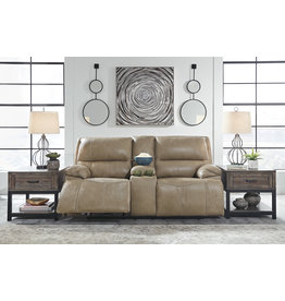 Signature Design Power Reclining Loveseat w/ Adjustable Headrest and Console, Ricmen, Putty Color U4370218