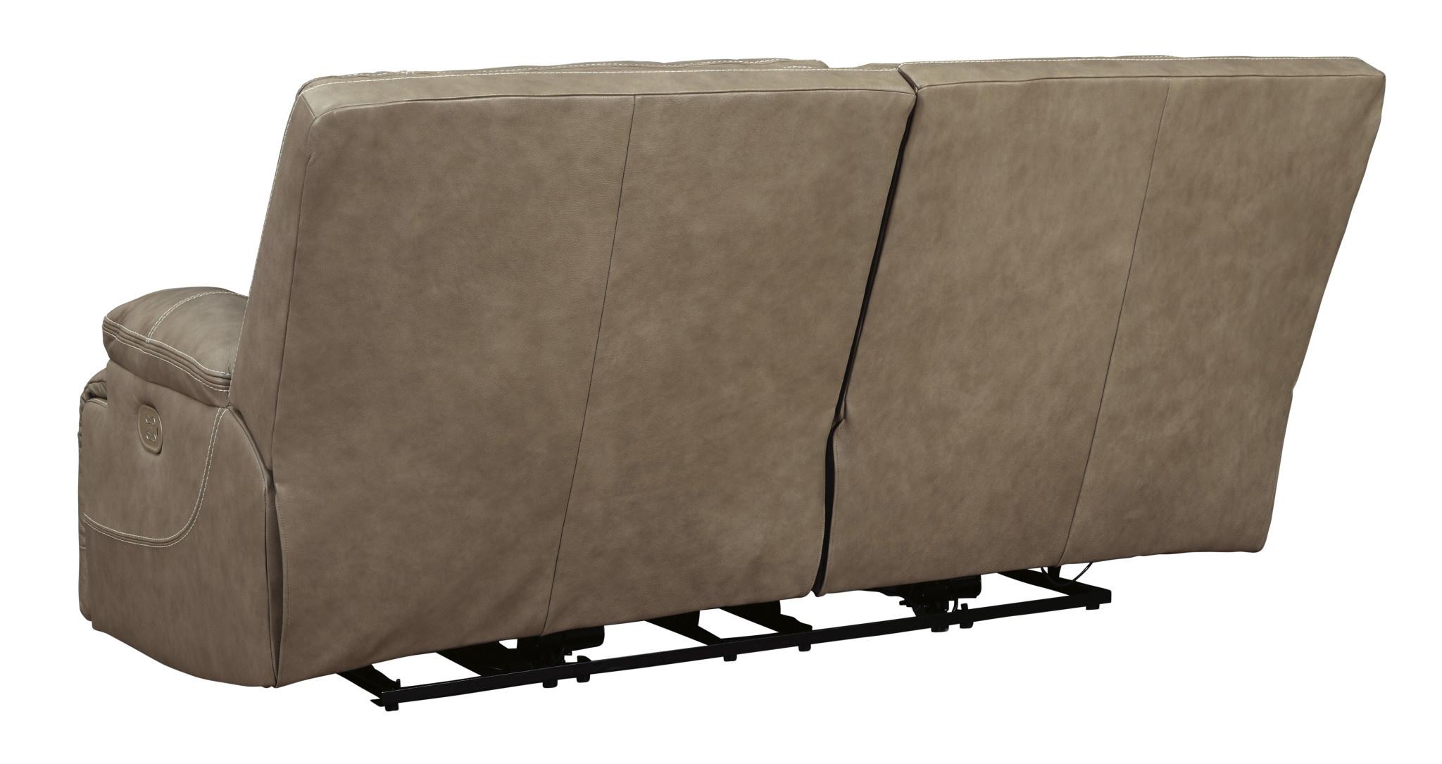 Signature Design 2 Seat Power Reclining Sofa w/ Adjustable Headrest, Ricmen, Putty Color U4370247
