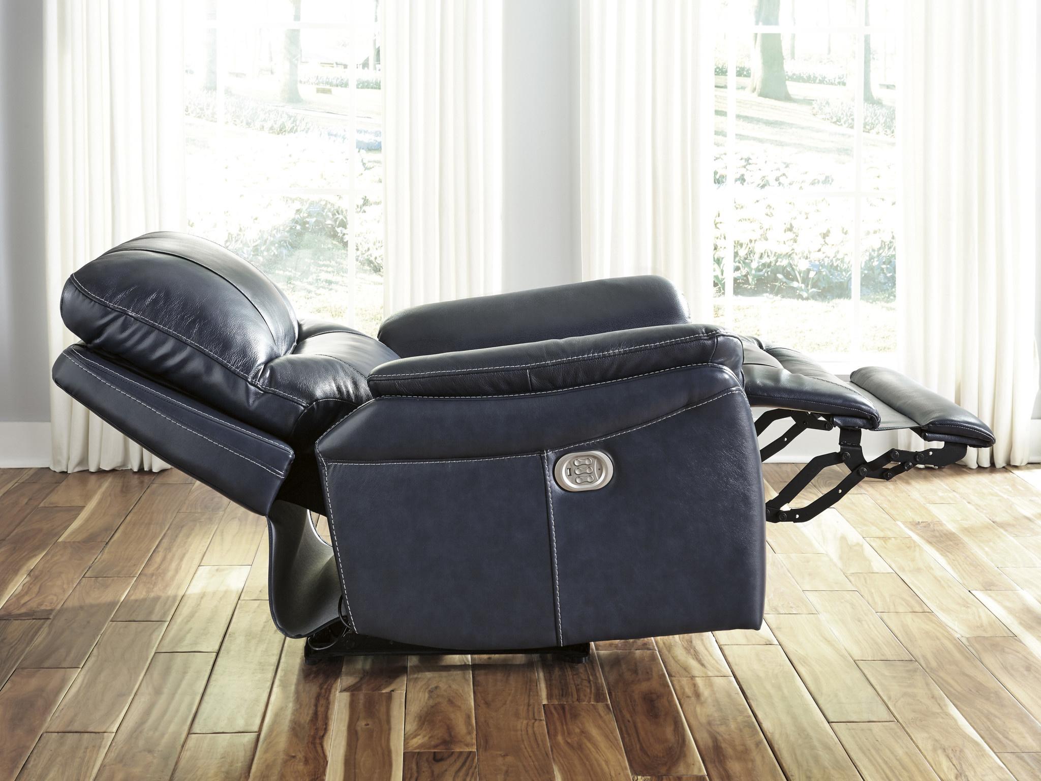 Signature Design Power Recliner w/ Adjustable Headrest, Stolpen, Blue 5650413