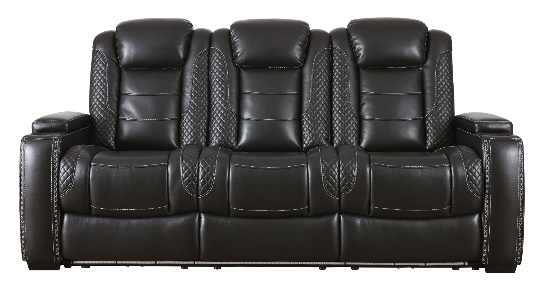 Signature Design Party Time Power Reclining Sofa w/ Adjustable Headrest, Party Time, Midnight color, 3700315