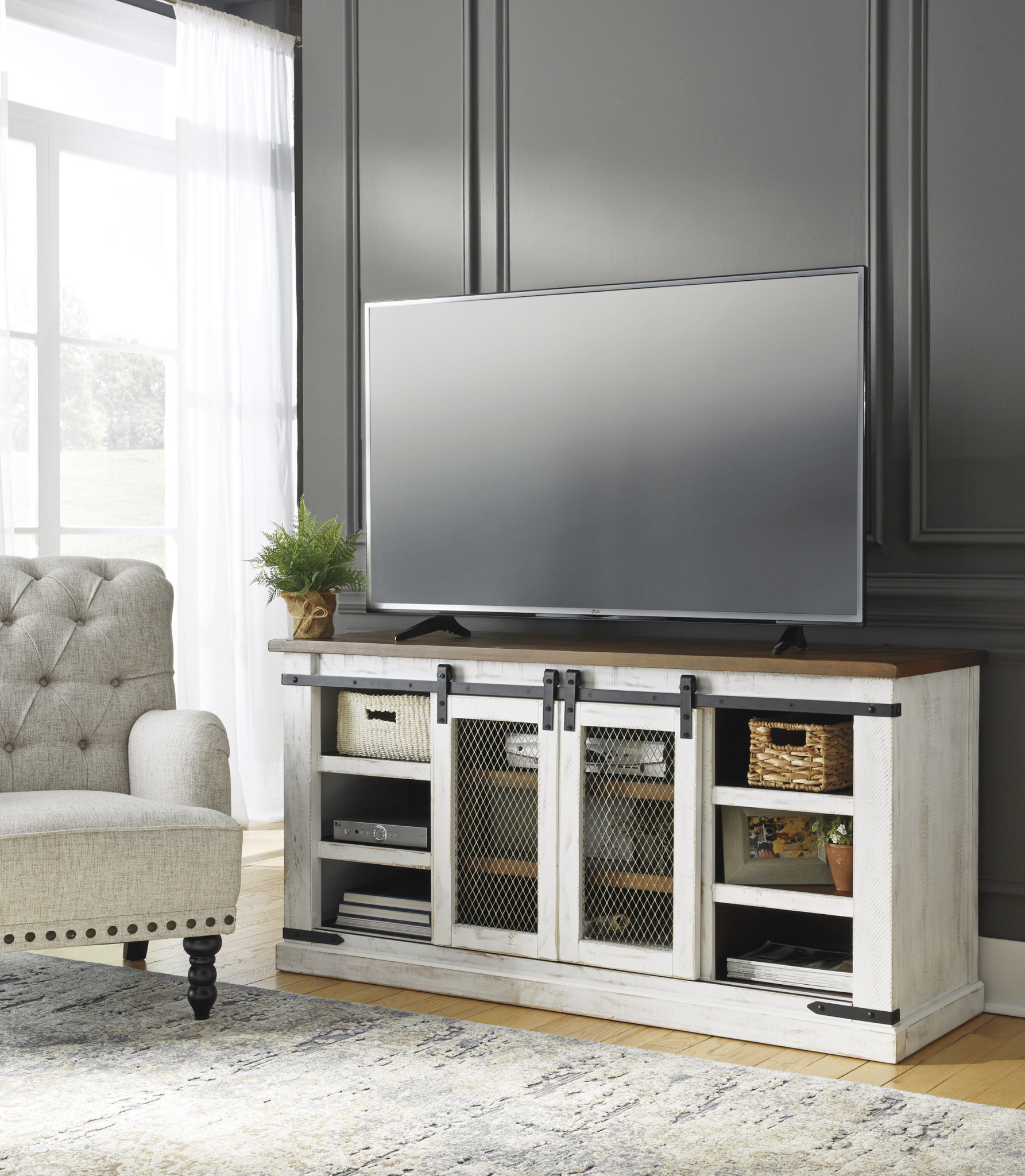 Signature Design Large TV Stand, Wystfield, White/Brown, W549-48