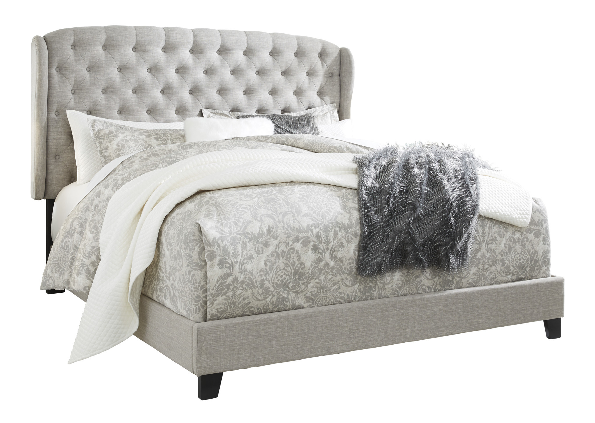 Signature Design King Upholstered Bedframe, Jerary, Light Gray, B090-982