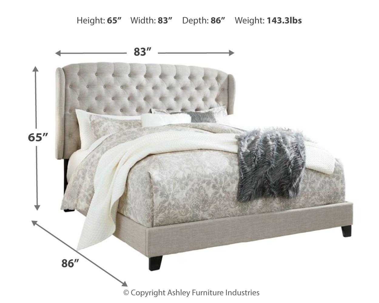 Signature Design King Upholstered Bedframe, Jerary, Light Gray, B090-982