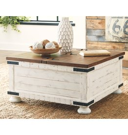 Signature Design Wystfield Cocktail Table w/ Storage- White/Brown- T459-20