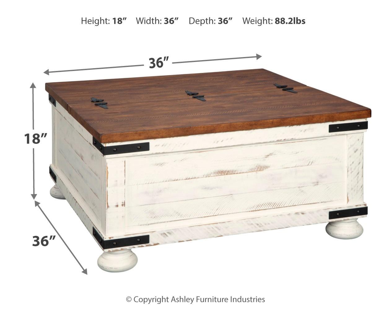 Signature Design Wystfield Cocktail Table w/ Storage- White/Brown- T459-20