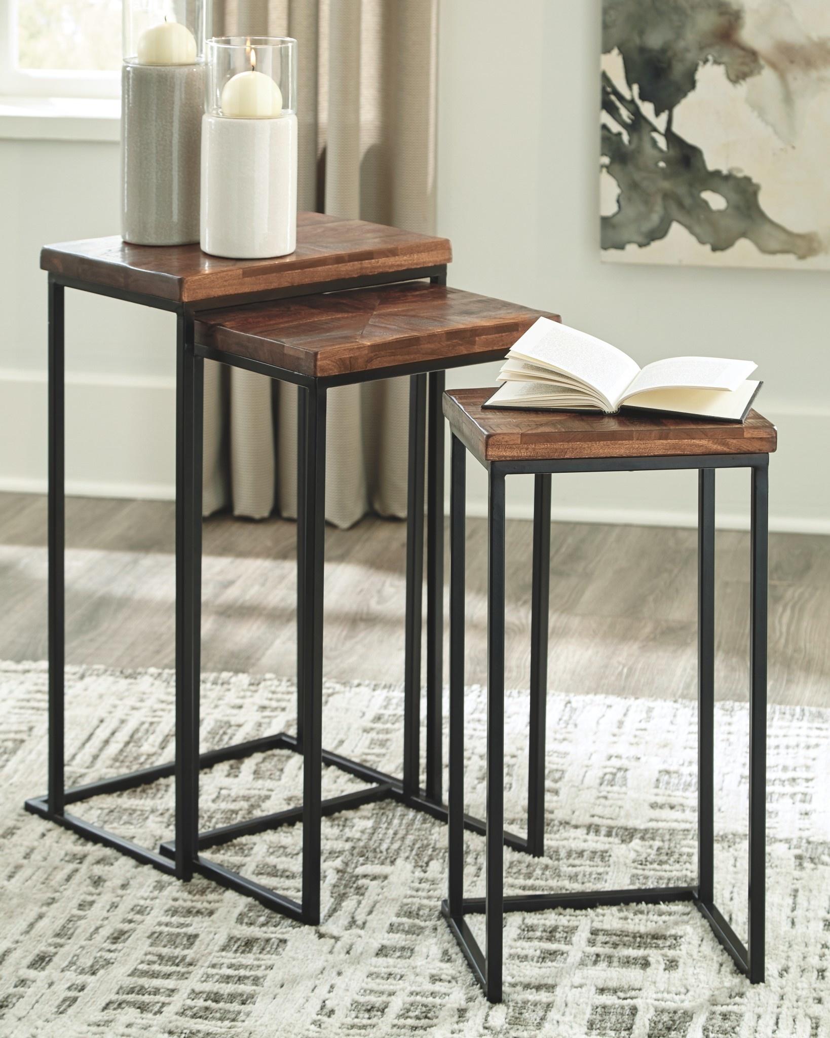 Signature Design Nesting Accent Tables Set of 3- Cainthorne- Brown/Black- A4000256