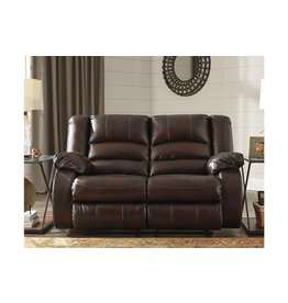 Signature Design Reclining Leather Loveseat- Levelland- Cafe Color- 1709986