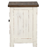"Signature Design Chair side End Table- ""Wystfield""- White/Brown T459-7"