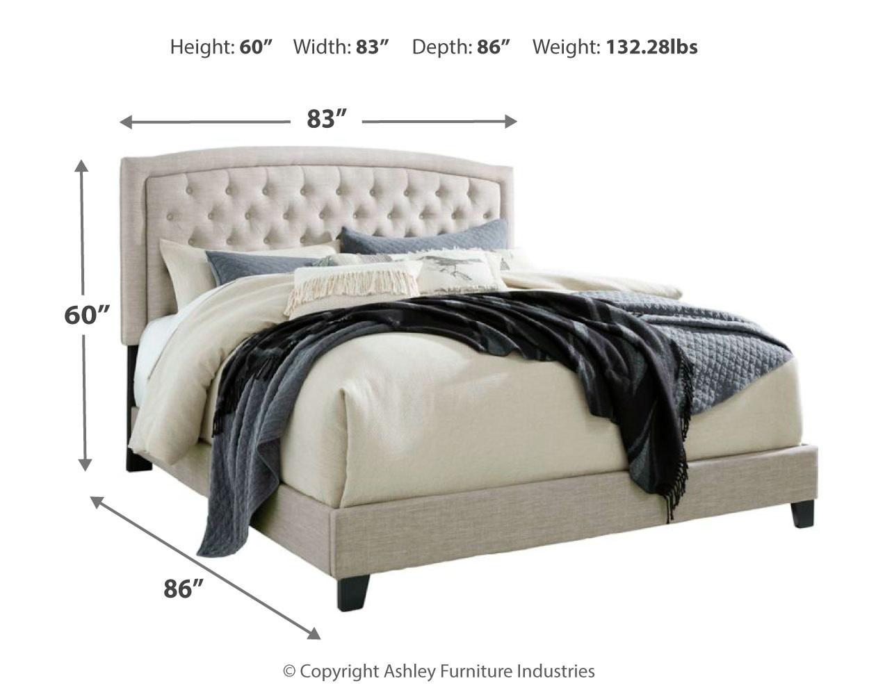 Signature Design KING- Jerary- Light Gray Upholstered Bed- B090-782