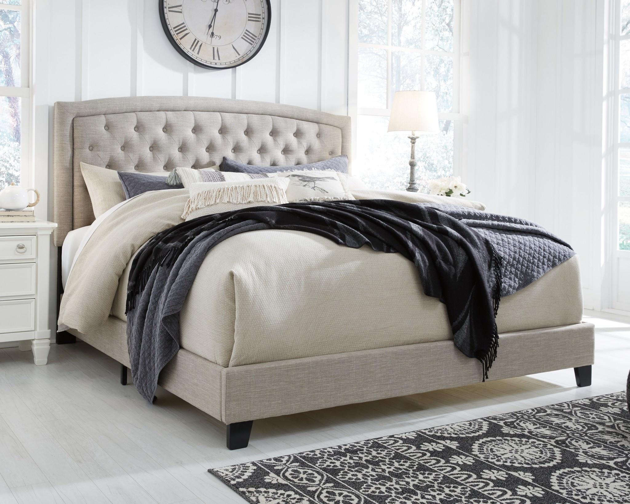 Signature Design Jerary- Light Gray KING Upholstered Bed- B090-782