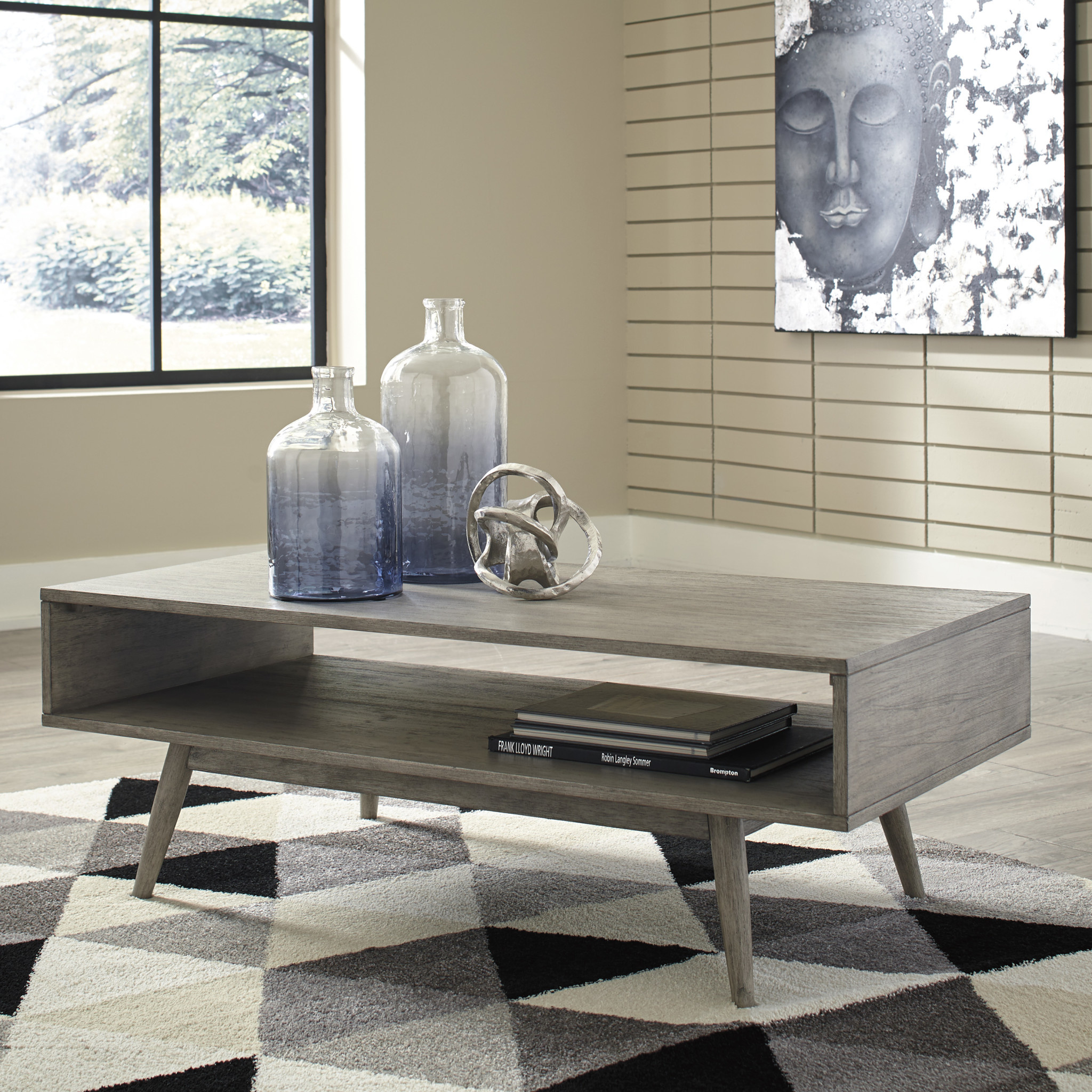 "Signature Design ""Asterson"" Rectangular Cocktail Table- Gray T772-1"
