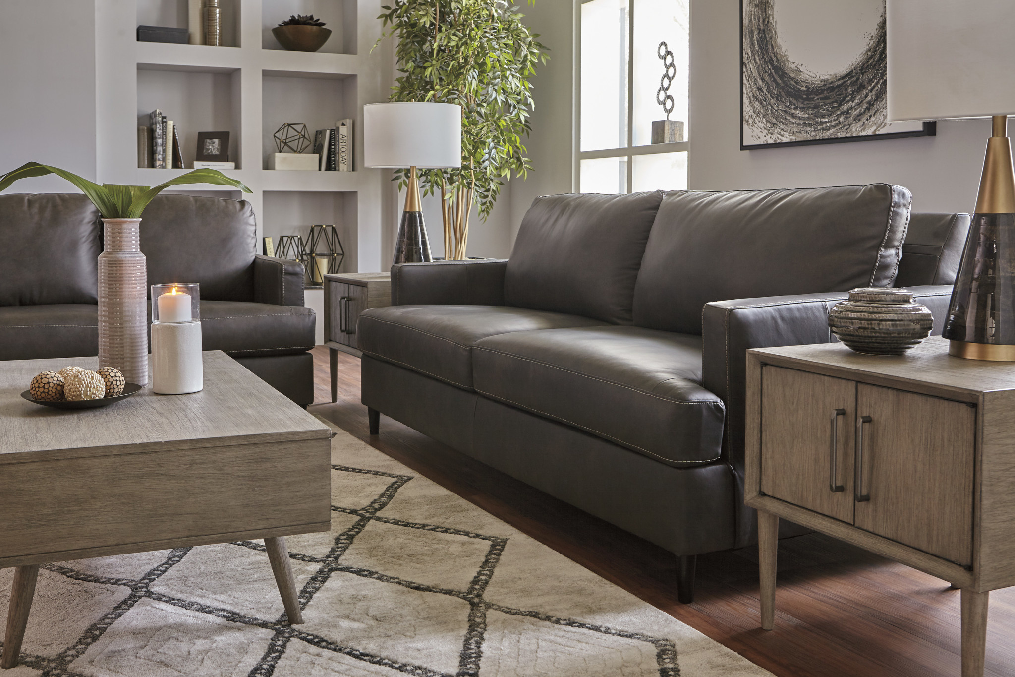 "Signature Design ""Hettinger"" Leather Sofa- Ash Color- 4950138"