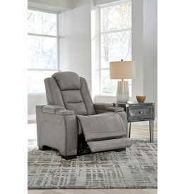 "Signature Design ""The Man-Den"" Power Recliner w/ Adjustable Headrest- Gray"