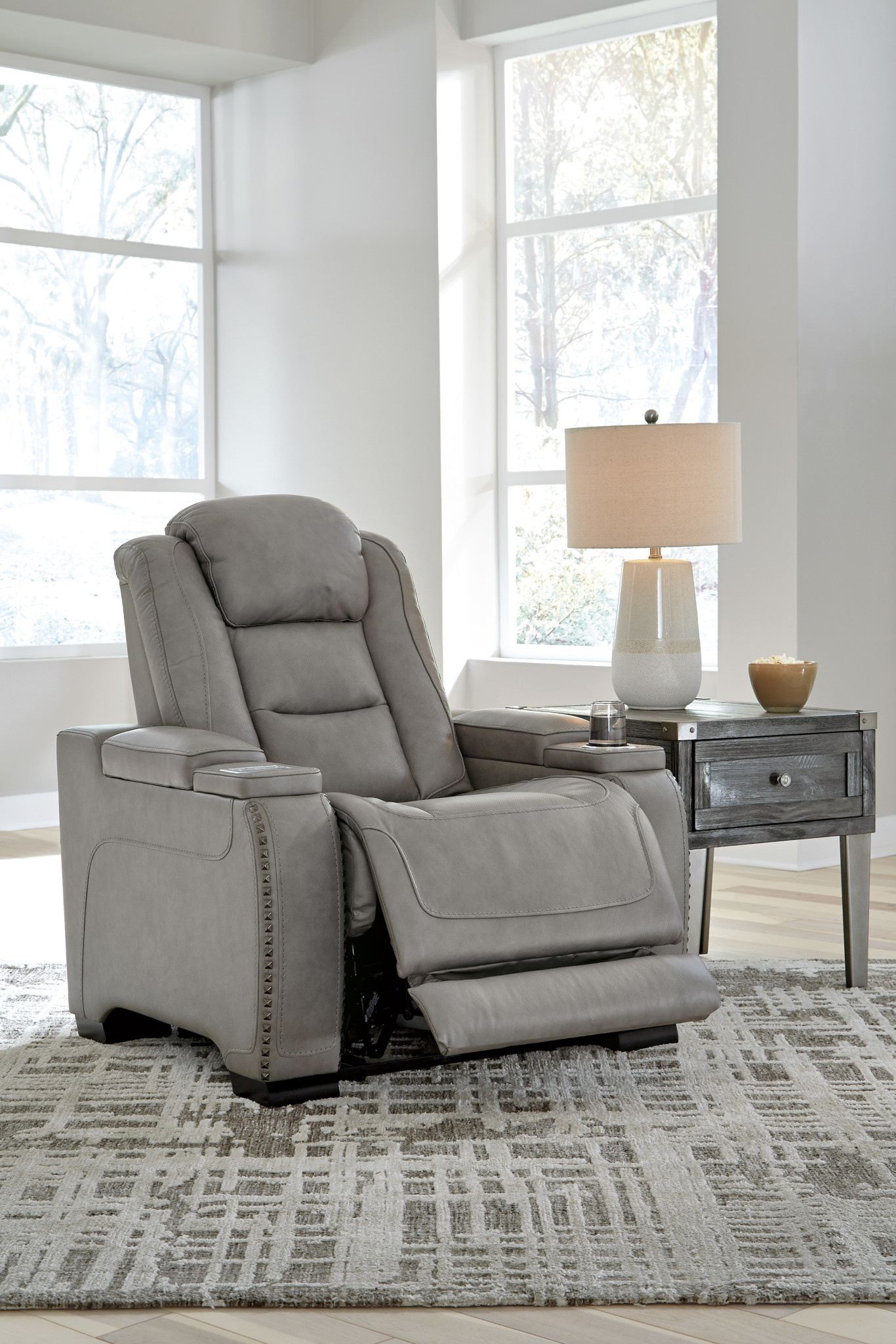 "Signature Design ""The Man-Den"" Power Recliner w/ Adjustable Headrest- Gray"