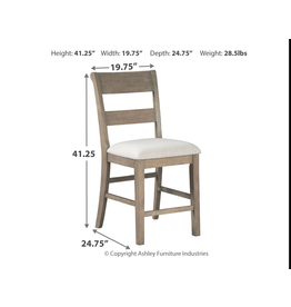 "Signature Design D732-124 ""Chapstone"" Gray- Upholstered Bar Stool"