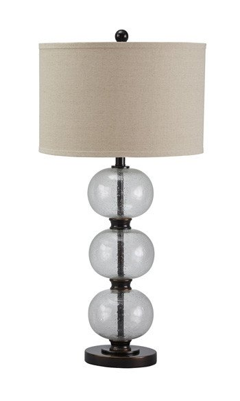 Signature Design Maleko, Glass Table Lamp (1/CN), Clear/Bronze Finish, L430314