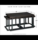 Signature Design Airdon Cocktail Table w/2 Stools- T394-1- Bronze