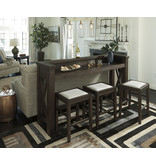 "Signature Design Bar (Stools sold separately)- ""Hallishaw"" Dark Brown D498-65"