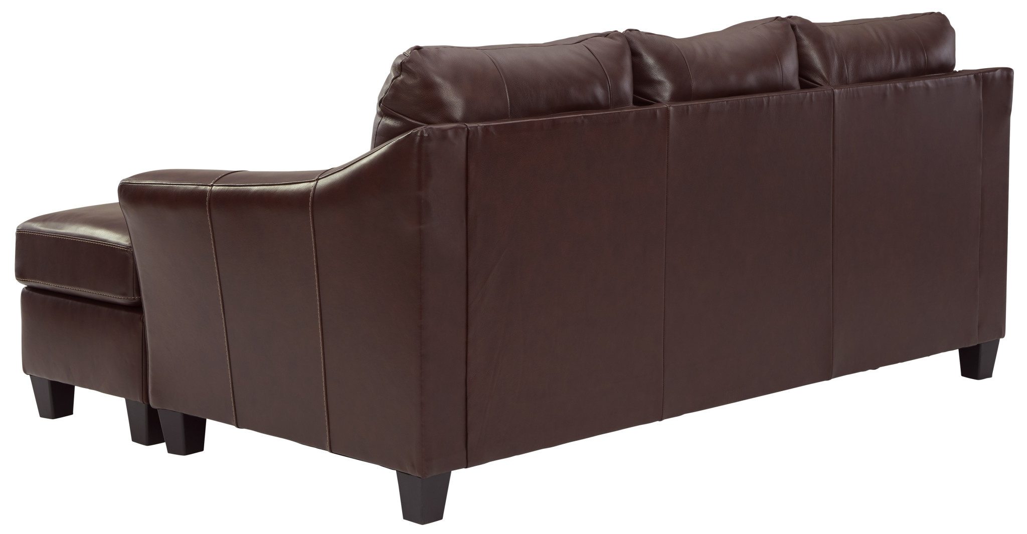 """Signature Design Reversible Sofa Chaise """"Fortney"""" Mahogany Color- Leather 9240618"""