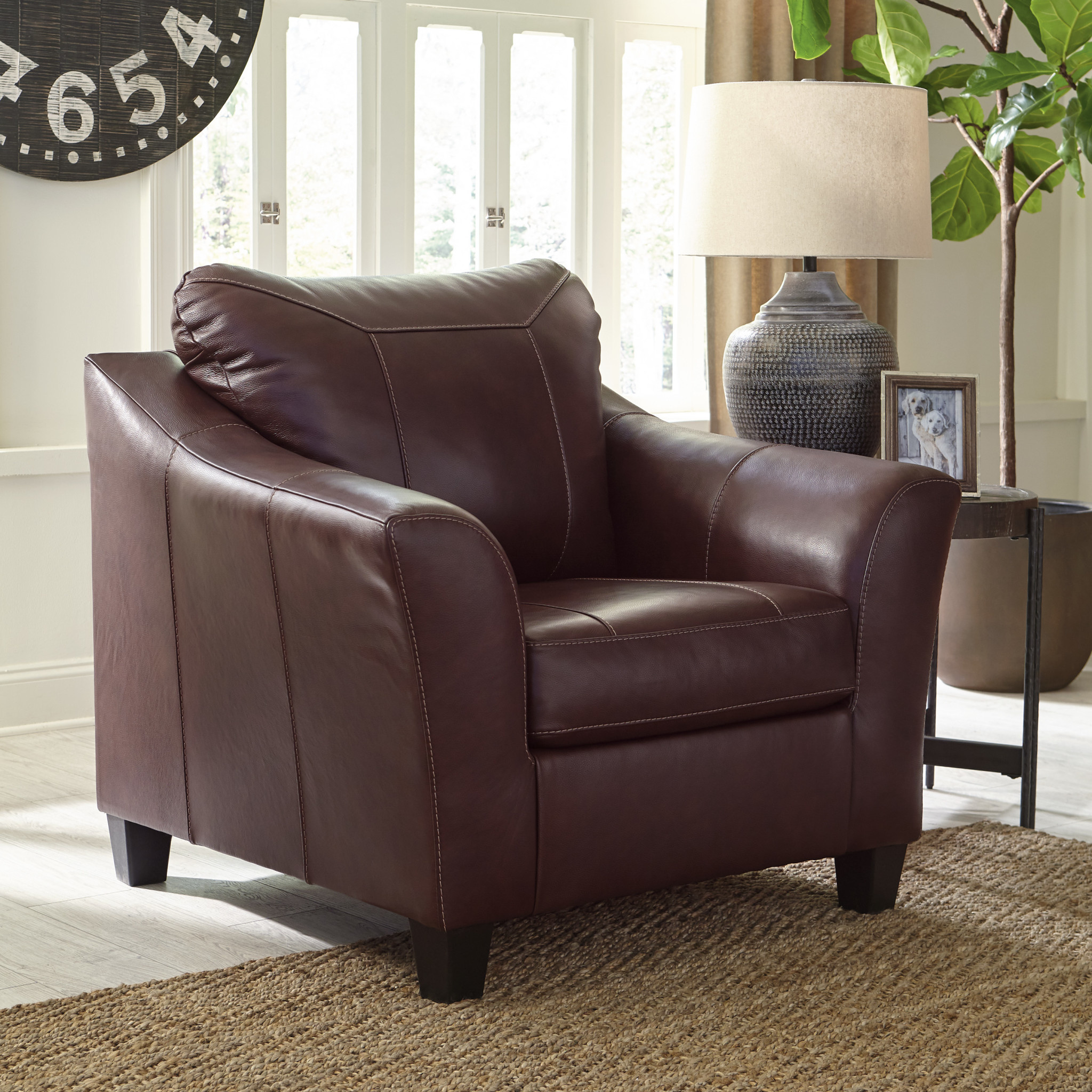"Signature Design Leather Chair- ""Fortney""- Mahogany Color- Leather 9240620"