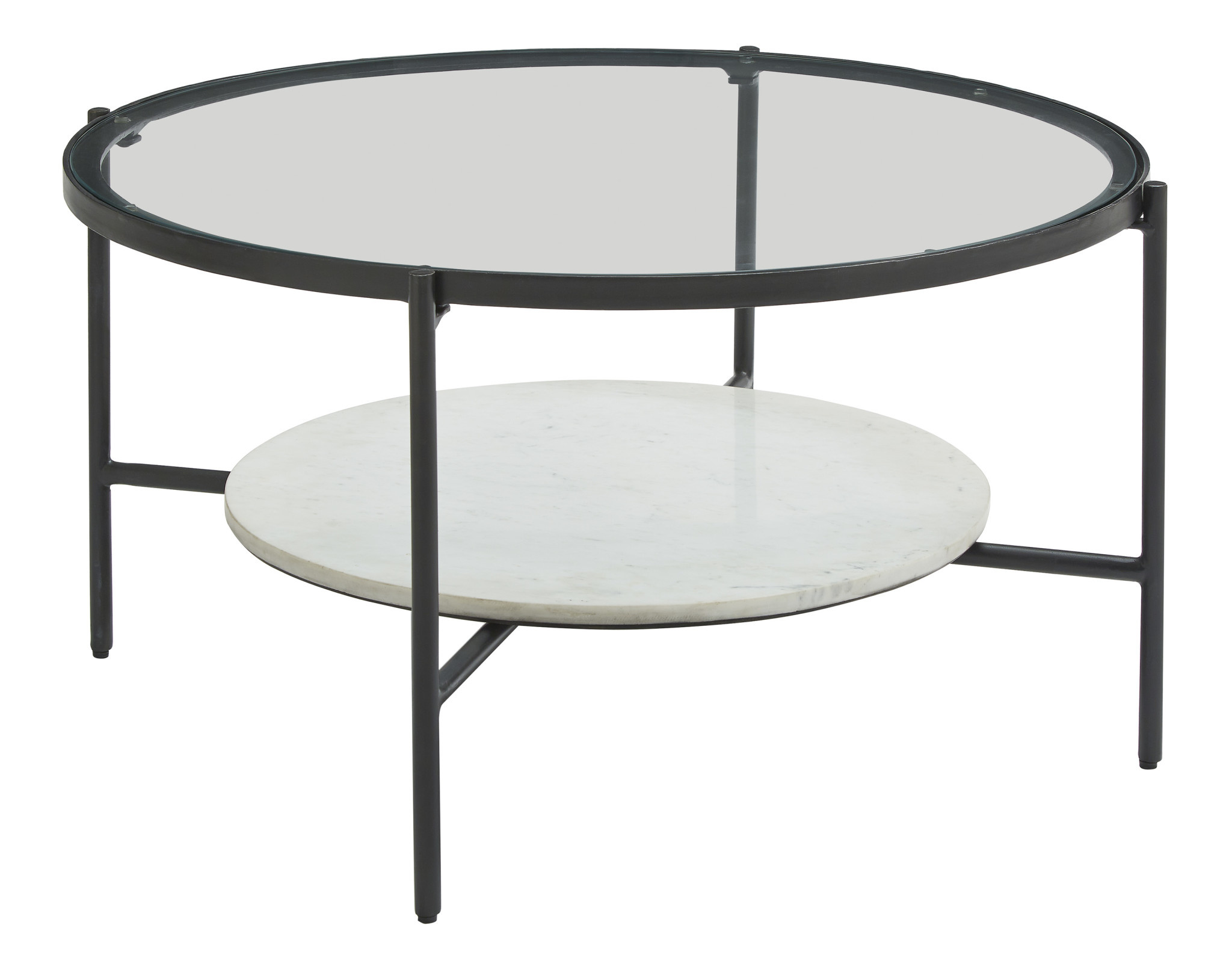 "Signature Design Round Cocktail Table- ""Zalany"" Black/White T245-8"