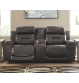 "Signature Design ""Pomellato"" Power Reclining Loveseat w/ Console and Adjustable Headrest- Gray U5010118"