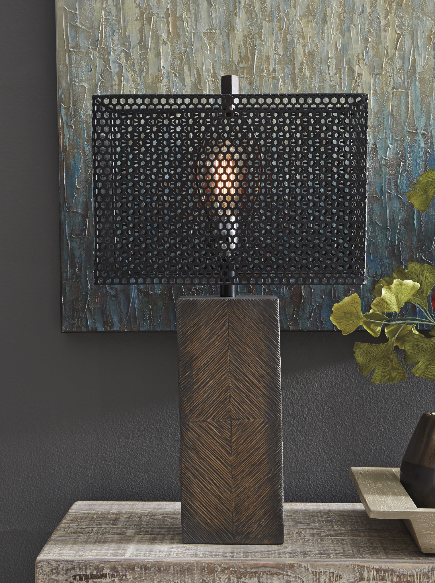 "Signature Design L235654- Table Lamp- ""Briek"" Brown, Casual"