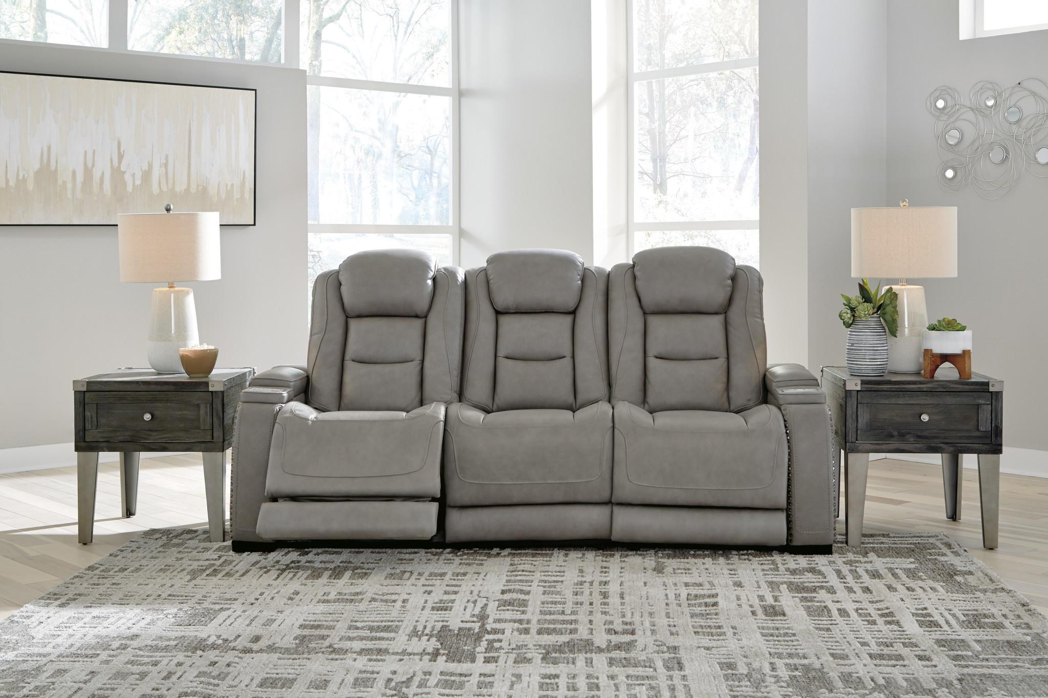 "Signature Design ""The Man-Den""- Power Reclining Sofa w/ Adjustable Headrest- U8530515"