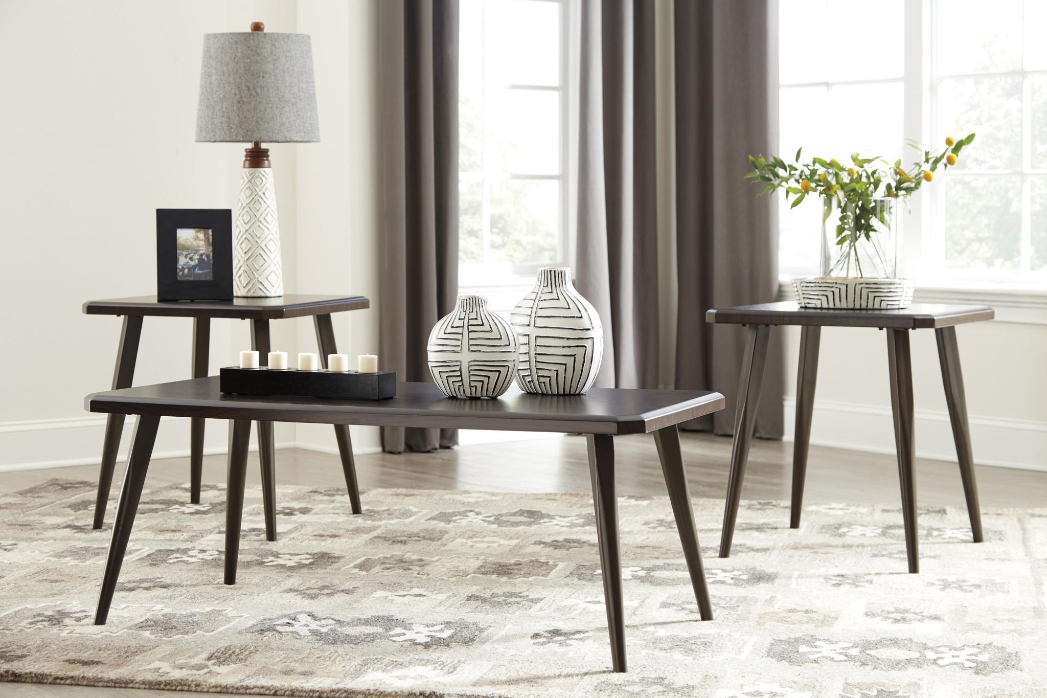 "Signature Design ""Fazani"" Dark Brown- Occasional Tables set of 3- Mid-Century Modern T037-13"