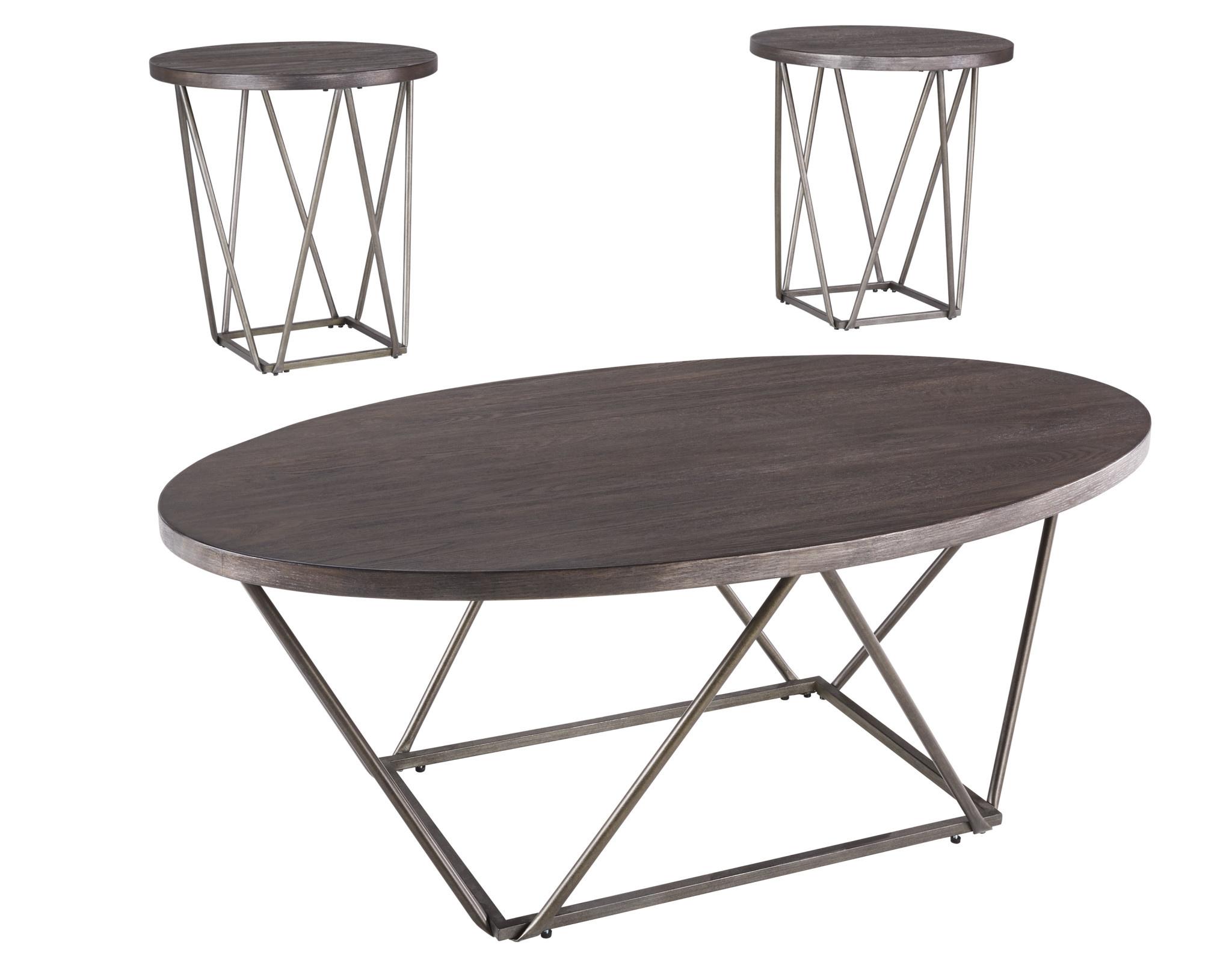 """Signature Design """"Neimhurst"""" Dark Brown Occasional Table (Set of 3)- T384-13"""