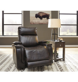 """7830413 Power Recliner w/ Adjustable Headrest, """"Team Time"""" Chocolate Color"""