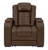 "Signature Design ""Backtrack"" Leather Power Recliner w/ Adj. Headrest- Chocolate U2800413"