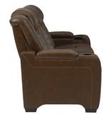 "Signature Design ""Backtrack""- Leather Power Sofa w/ Adj. Headrest, Massage, Heat, Console- Chocolate U2800415"