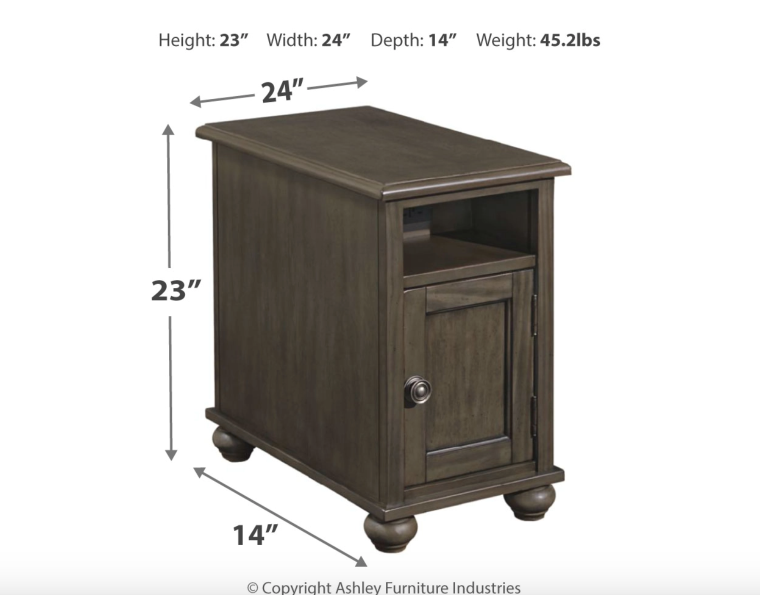 """Signature Design """"Devensted"""" Chairside End Table- Dark Gray"""