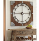 "Signature Design ""Palila"" Wall Clock- Brown Silver Finish- A8010072"