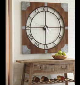 "Signature Design ""Palila"" Wall Clock- Brown Silver Finish- A8010072"