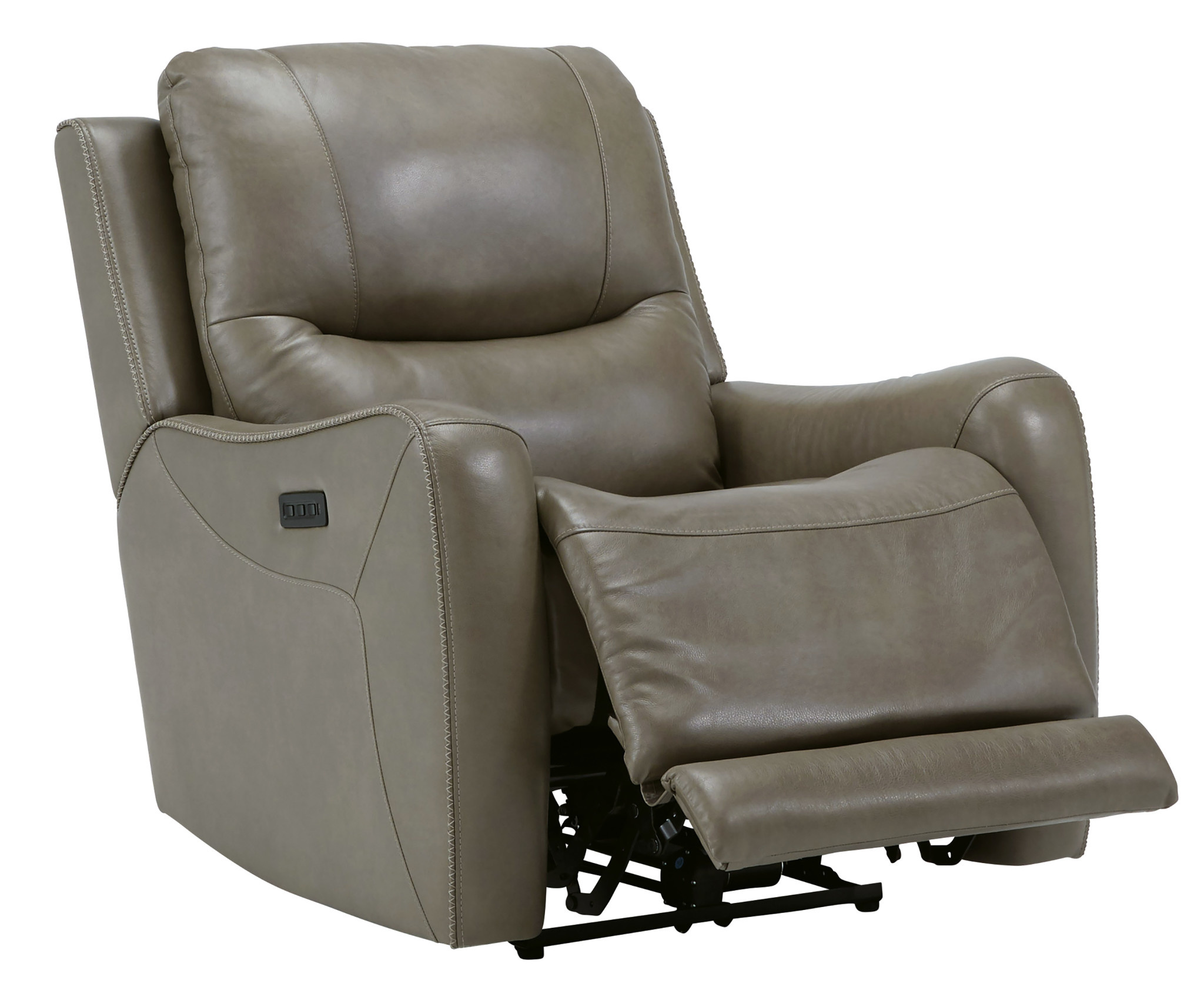 "Signature Design ""Galahad"" Leather Zero Wall Power Recliner w/ Adjustable Headrest - Sandstone Color"