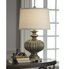 Signature Design Araminta Poly Table Lamp (1/CN) - Antique Gray  L511944