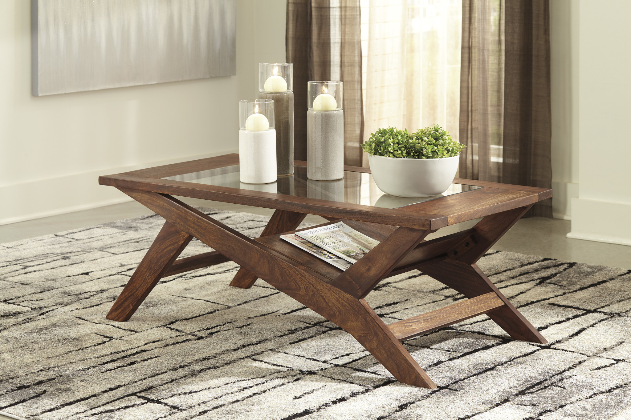 "Signature Design ""Charzine"" - Rectangular Cocktail Table- Warm Brown- T248-1"