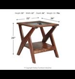 "Signature Design ""Charzine""- Rectangular End Table- Warm Brown- T248-3"